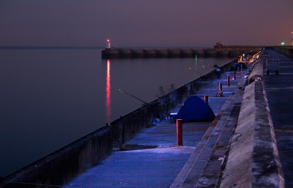 pesca de noche, mejores horas para pescar de noche, material para pescar de noche en el mar, cebos pesca de noche