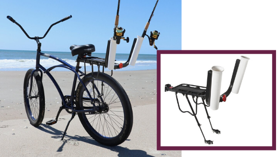 llevar las cañas de pesca en la bicicleta