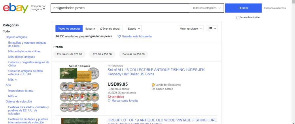 eBay para comprar antigüedades de pesca