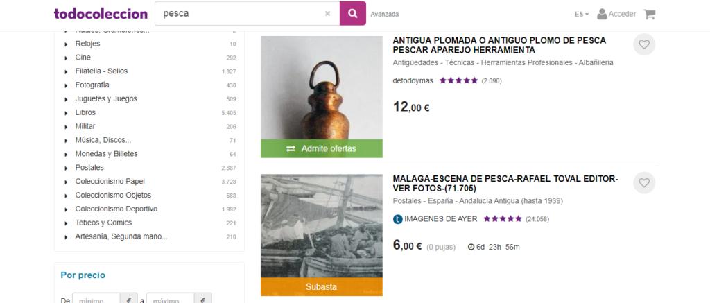 Todocolección, web para comprar artículos de pesca para coleccionistas