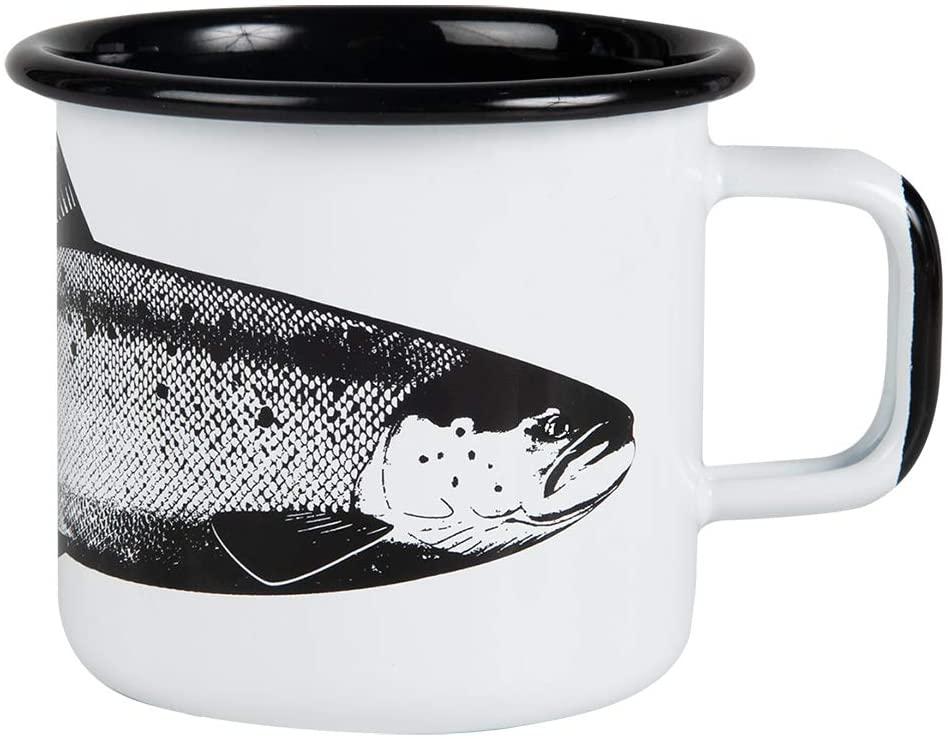 Muurla, Taza de café con diseño de pez salmón, cosas chulas de pesca, taza